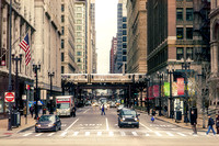 Downtown Chicago Street-trains scene-