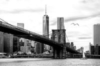 Broolyn Bridge + Freedom Tower - bw-