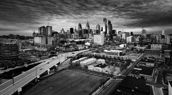 Center City Sunrise bw-